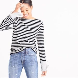 J.Crew boatneck striped built in cuff sleeve top